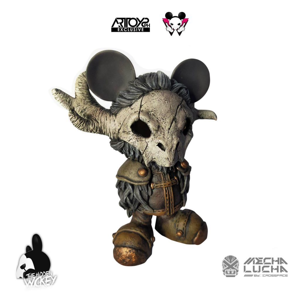 A warrior themed rat custom toy with an animal skull mask