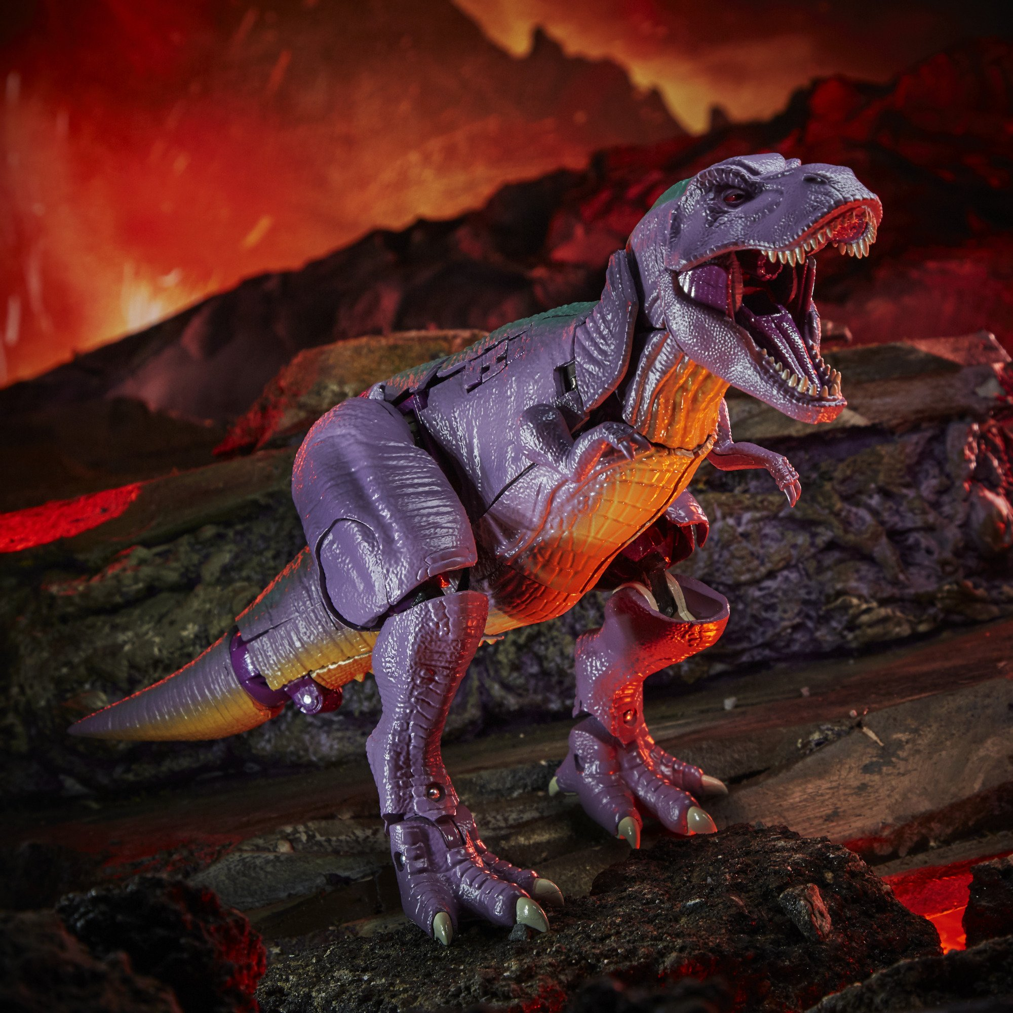 transformers kingdom megatron trex standing in a volcano