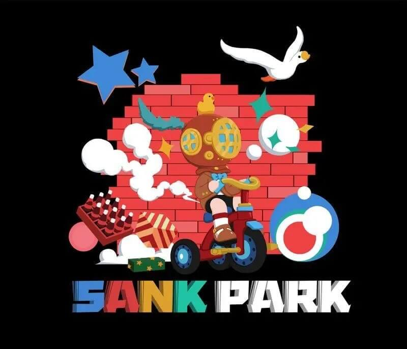 Sank toys park poster design that features the title against a brick wall with the character riding a tricycle.