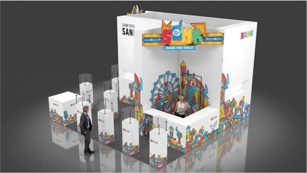An aerial view of the sank park shanghai toy show exhibit that has many outward display cases and a large mural of an amusement park using light colors against a white backdrop.