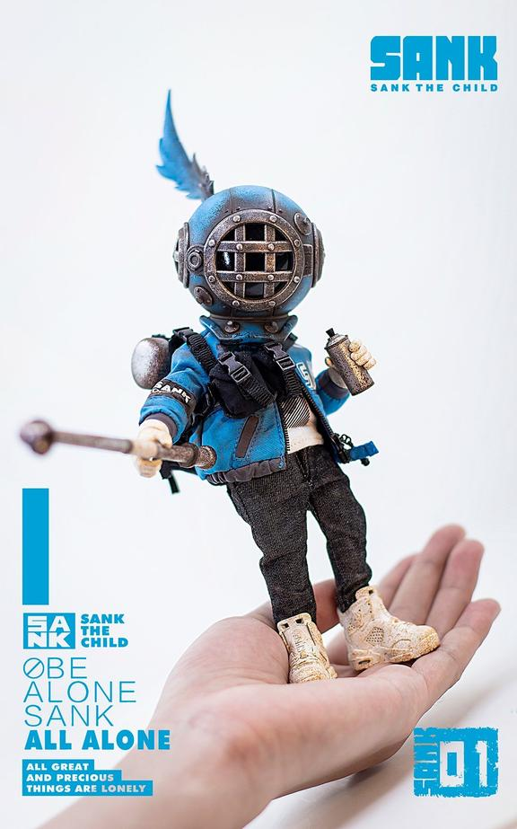 sank obe alone blues action figure standing on a hand