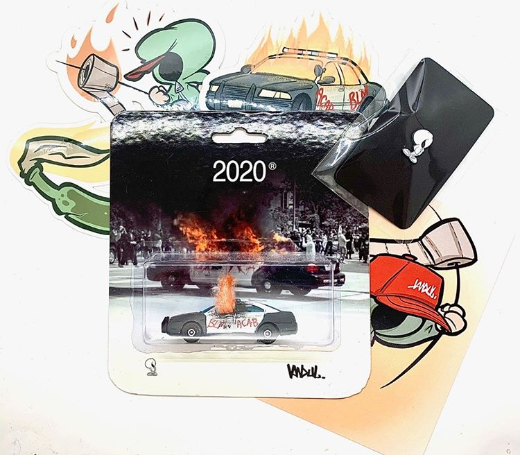 The 2020 bootleg bundle with the burning police car, stickers, and pins
