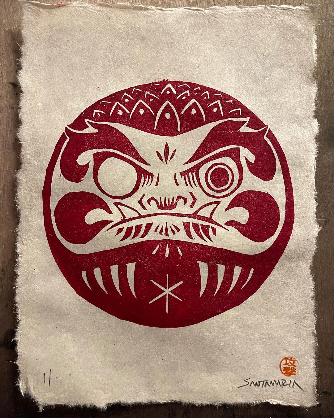 Attack Peter Carved linoleum wood print of daruma