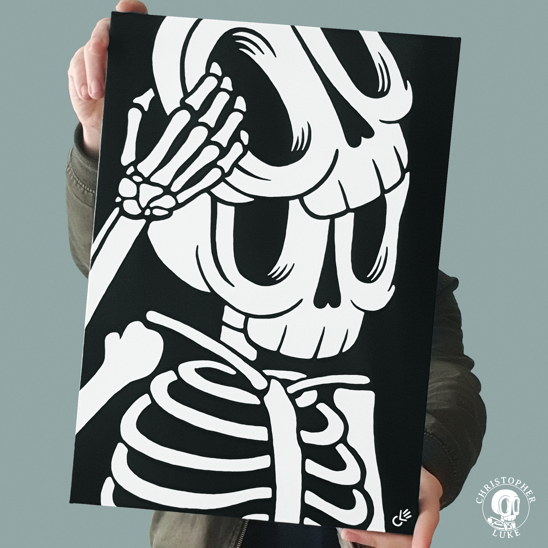 Black and white skeleton painting by Christopher Luke