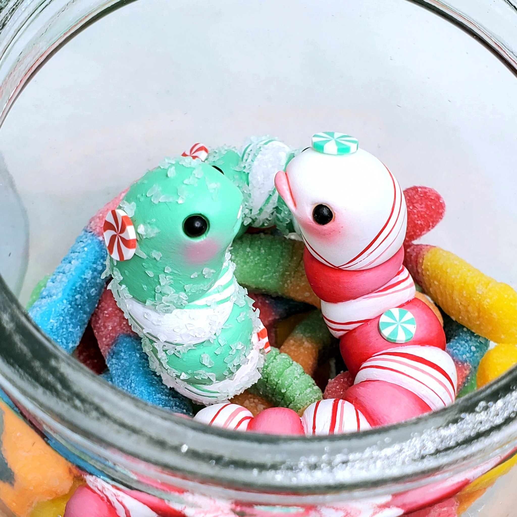 SeriouslySillyK Minty Fresh Edition Holiday Gummy Worms Pair In Candy Jar Promo Photo