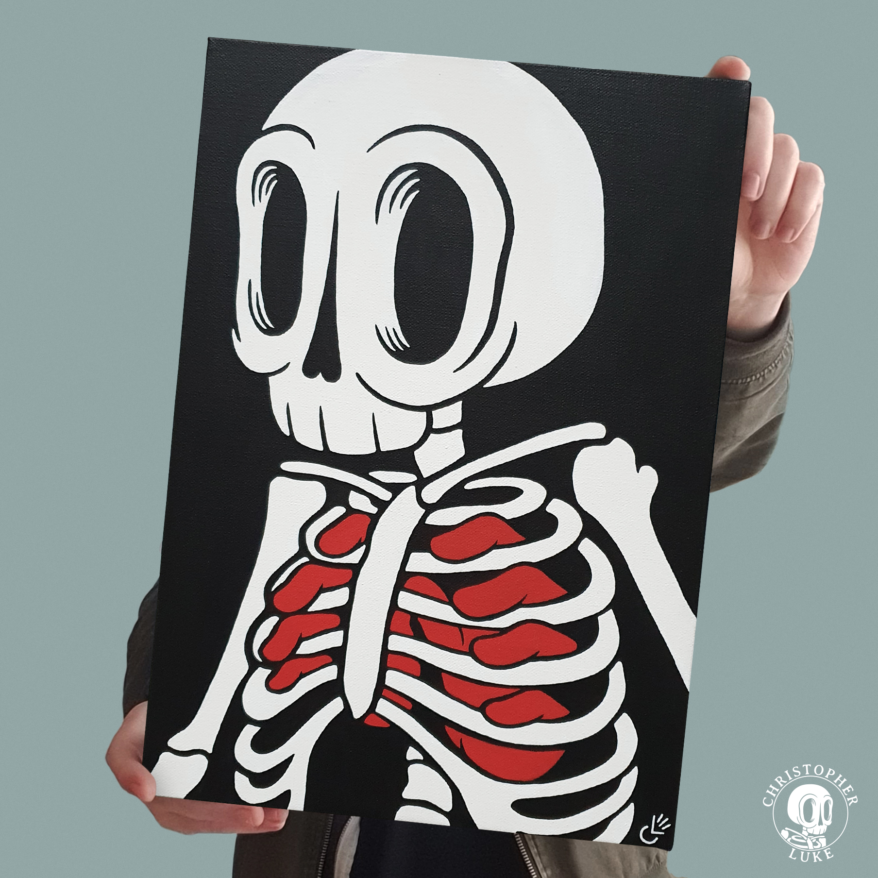 Black, white, and red painting of a skeleton by Christopher Luke.