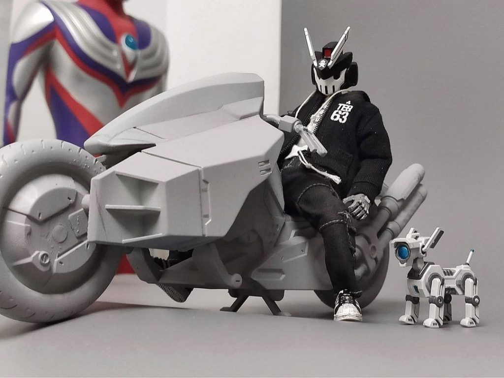 quiccs 1:12 scale teq633 action figure with motorcycle and dog