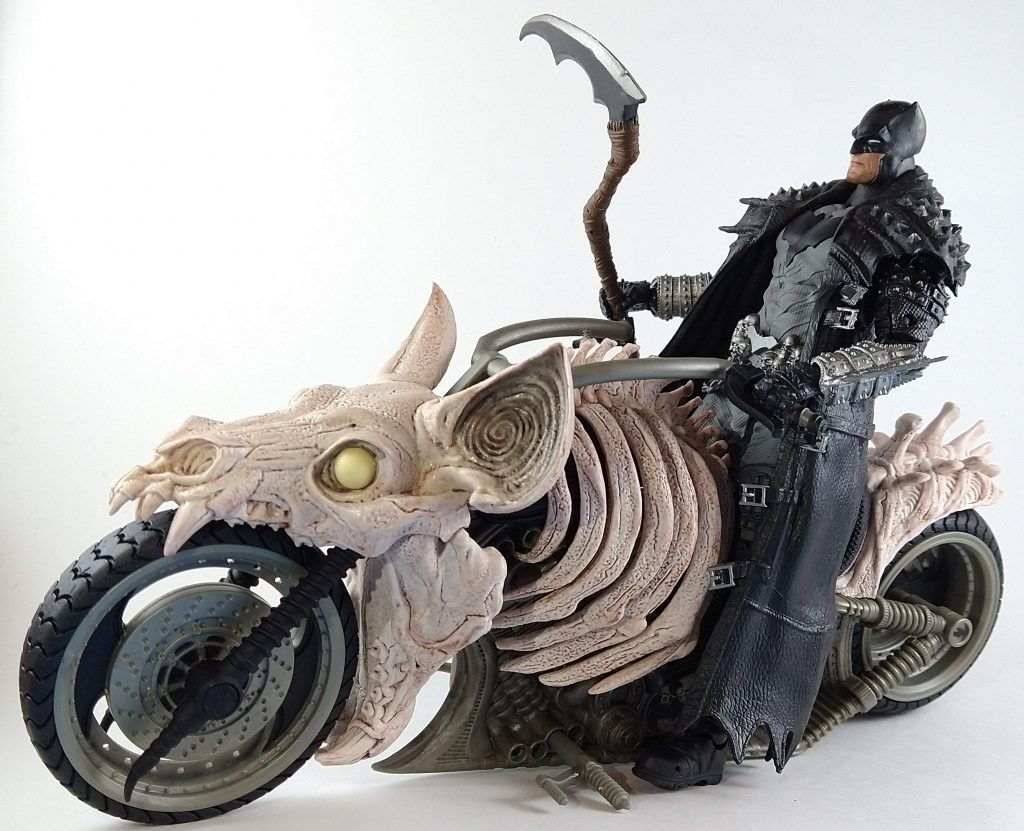 Angle view of Death Metal Batman on the BatCycle