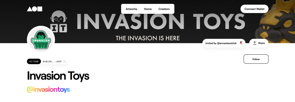 invasion toys foundation nft account page