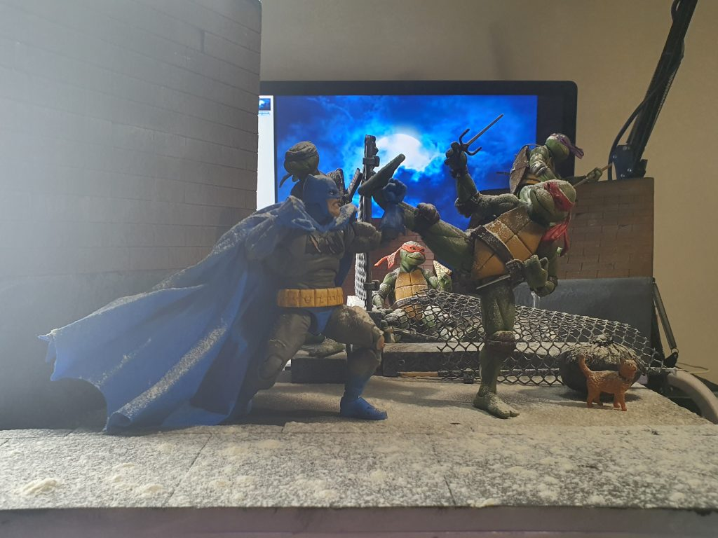 """""""Behind The Scenes"""" Mafex 'Dark Knight Returns' Batman Vs Neca TMNT Toy Photography by TJ Collects"""