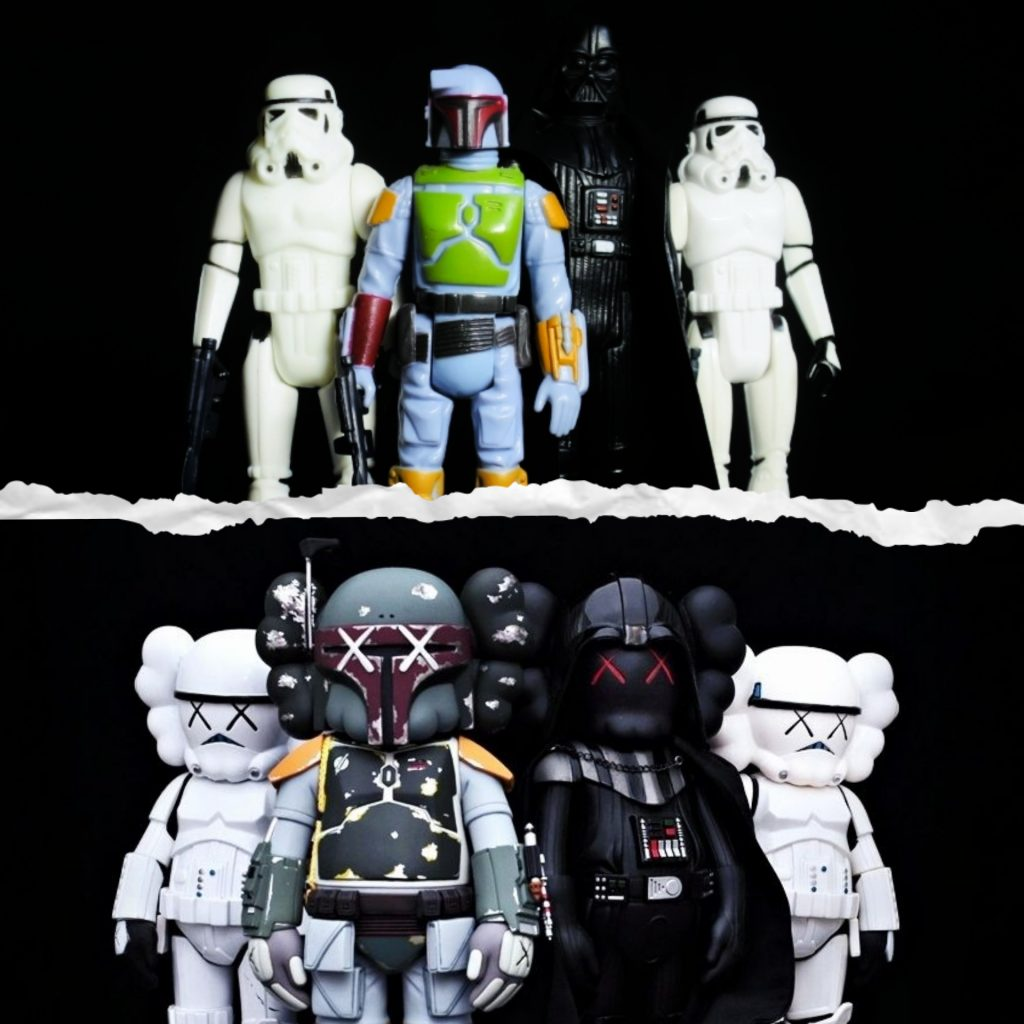 Kenner to Kaws Collage Photos by Star Wares & raphmeister