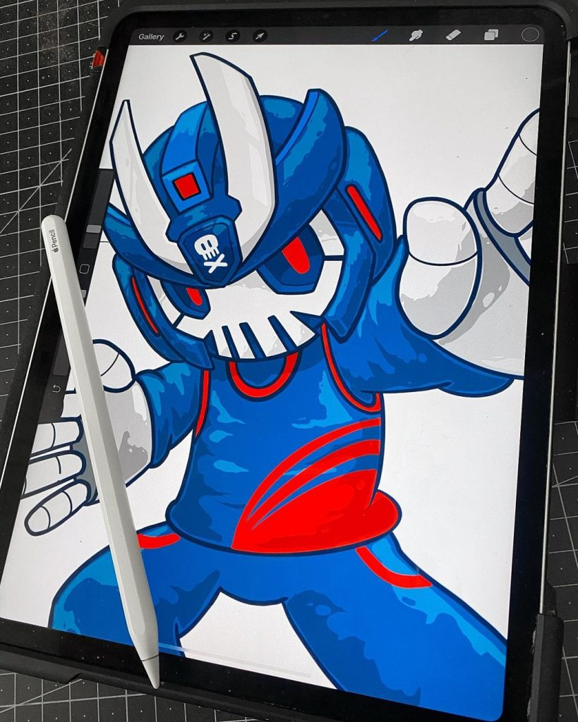 blue and red teq63 illustration