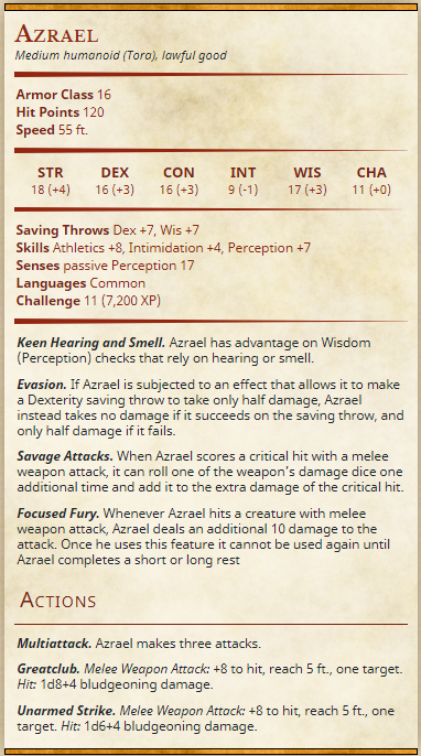 rlux customs azrael dungeons and dragons 5e stat block